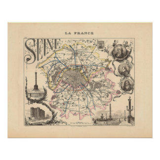 1858 Map of Seine Department, Paris France Poster
