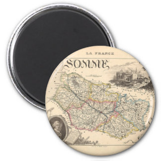 1858 Map of Somme Department, France Magnet