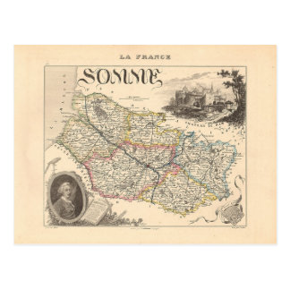 1858 Map of Somme Department, France Post Card