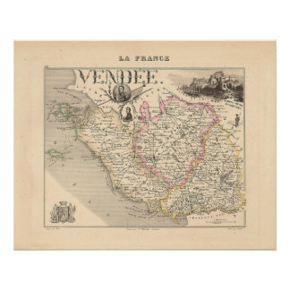 1858 Map of Vendee Department, France Poster
