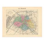 1858 Map Paris et son Mur d'Enceinte - France Postcard