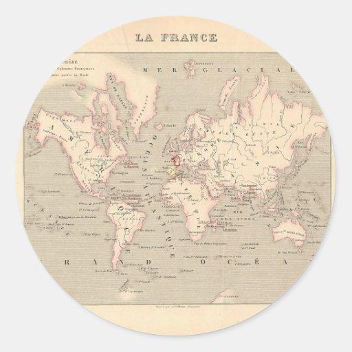 1858 world map planisphere france round sticker zazzle. Black Bedroom Furniture Sets. Home Design Ideas