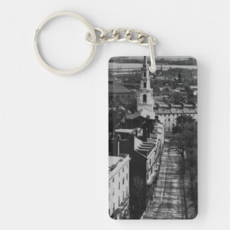 1859:  A view of Boston from the State House Double-Sided Rectangular Acrylic Key Ring