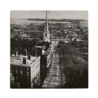 1859:  A view of Boston from the State House Maple Wood Coaster