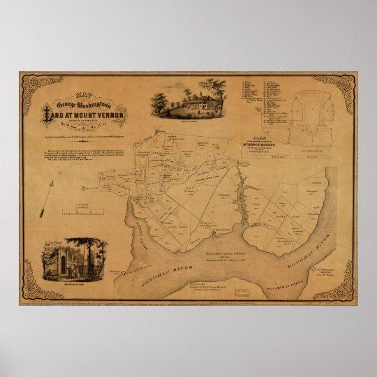 1859 Map Washington's Land at Mt. Vernon, Virginia Poster