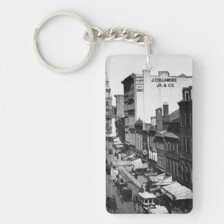 1859:  Traffic and shops on Washington Street Double-Sided Rectangular Acrylic Key Ring