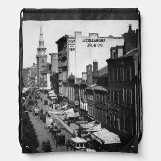 1859:  Traffic and shops on Washington Street Drawstring Bag