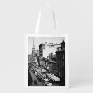 1859:  Traffic and shops on Washington Street Reusable Grocery Bag