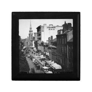 1859:  Traffic and shops on Washington Street Small Square Gift Box
