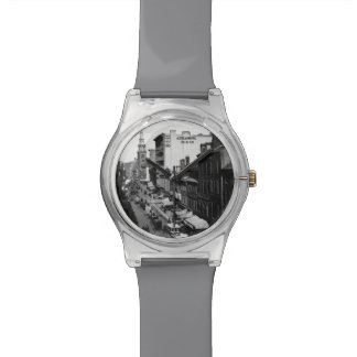 1859:  Traffic and shops on Washington Street Watch