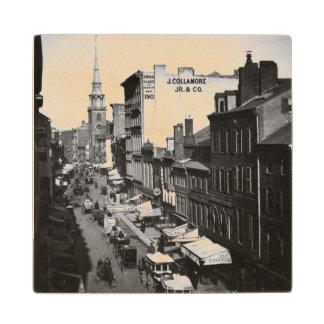 1859:  Traffic and shops on Washington Street Wood Coaster