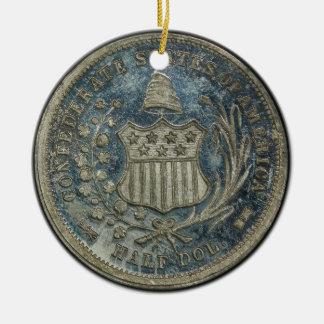 1861 50C Confederate Scott Restrike Civil War Coin Double-Sided Ceramic Round Christmas Ornament