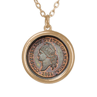 1861 Civil War USA Confederate Penny Gold Plated Necklace