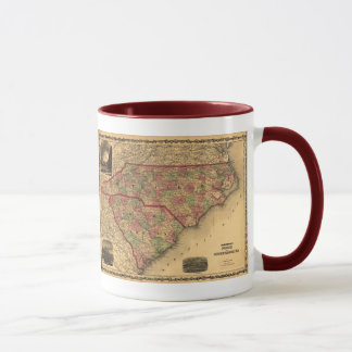 1861 North Carolina and South Carolina Map Mug