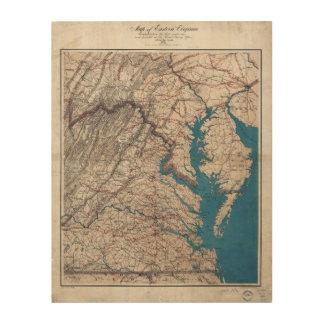 1862 Civil War Era Map of Eastern Virgina Wood Canvases