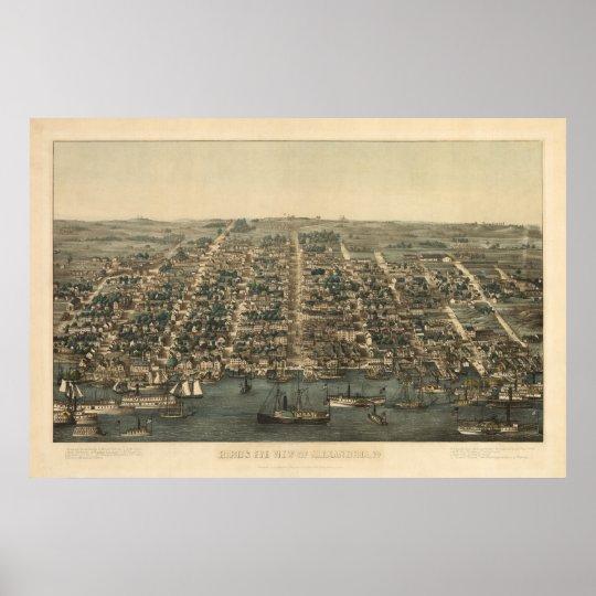 1863 Alexandria, VA Bird's Eye View Panoramic Map Poster