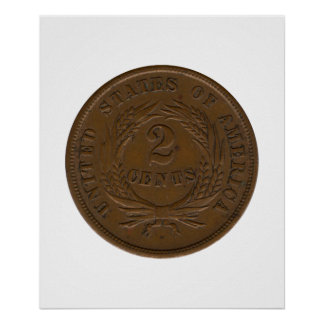 1864 2-Cent Piece Poster