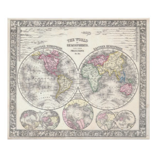 1864 Mitchell Map of the World on Hemisphere Proje Poster