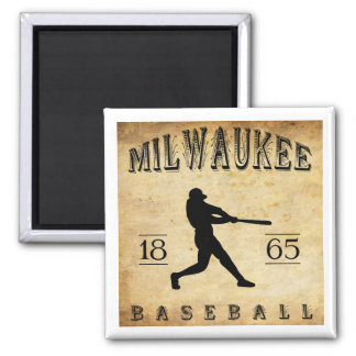 1865 Milwaukee Wisconsin Baseball Square Magnet