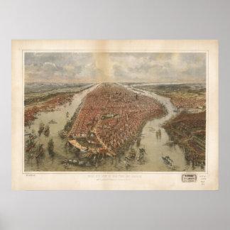 1865 New York City NY Birds Eye View Panoramic Map Poster