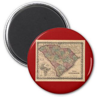 1865 South Carolina Map 6 Cm Round Magnet