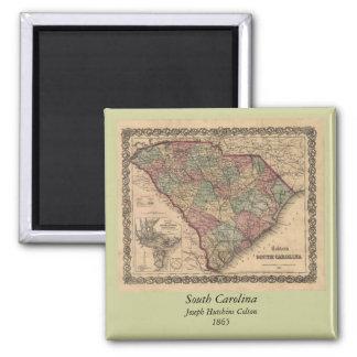 1865 South Carolina Map Square Magnet