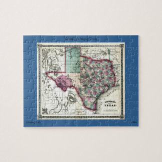 1866 Antiquarian Map of Texas by Schönberg & Co. Jigsaw Puzzle