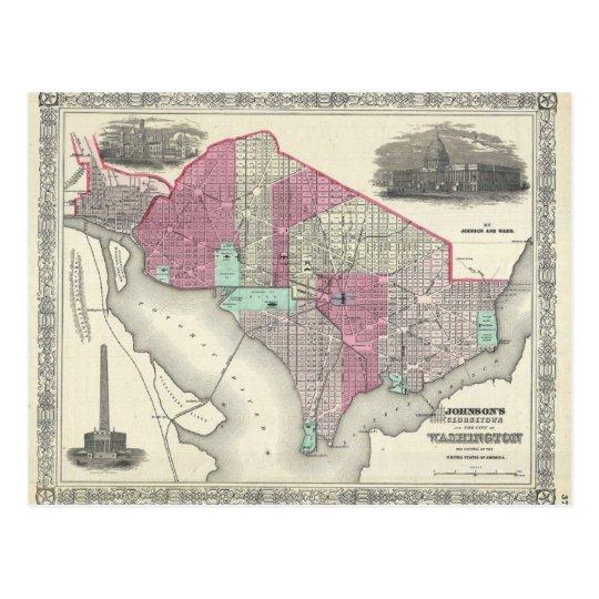 1866 Johnson Map of Washington D.C. Postcard