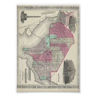 1866 Johnson Map of Washington D.C. Poster