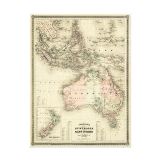 1867 Australia and East Indies Vintage Map Canvas Print