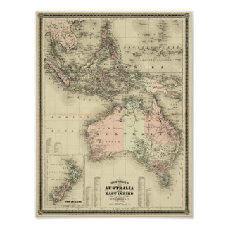 1867 Australia and East Indies Vintage Map Poster