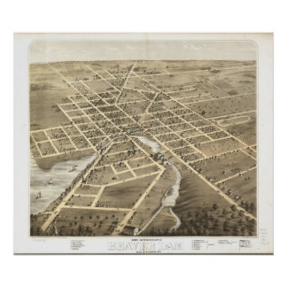 1867 Beaver Dam, WI Birds Eye View Panoramic Map Poster
