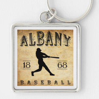 1868 Albany New York Baseball Silver-Colored Square Key Ring