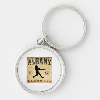 1868 Albany New York Baseball Silver-Colored Round Key Ring