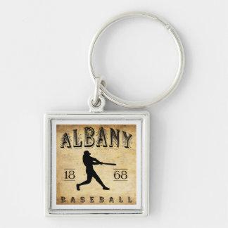 1868 Albany New York Baseball Silver-Colored Square Key Ring