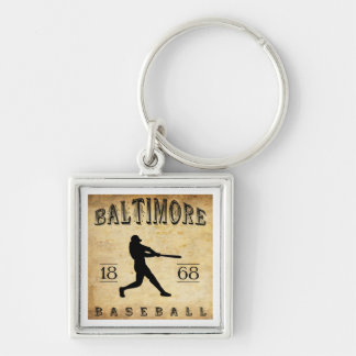 1868 Baltimore Maryland Baseball Silver-Colored Square Key Ring
