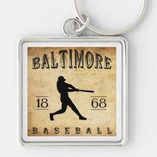 1868 Baltimore Maryland Baseball Silver-Colored Square Key Ring