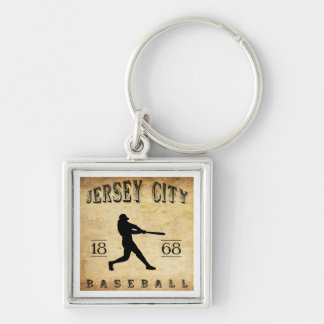 1868 Jersey City New Jersey Baseball Silver-Colored Square Key Ring
