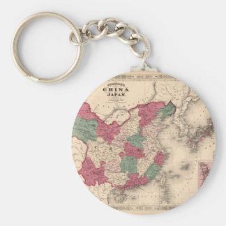 1868 Map - Johnson's China and Japan Basic Round Button Key Ring