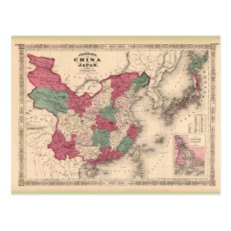 1868 Map - Johnson's China and Japan Postcard