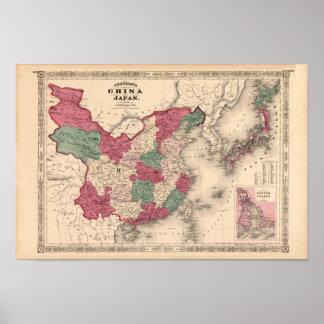 1868 Map - Johnson's China and Japan Poster