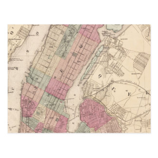 1868 Map of New York and Brooklyn Postcard