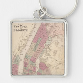1868 Map of New York and Brooklyn Silver-Colored Square Key Ring