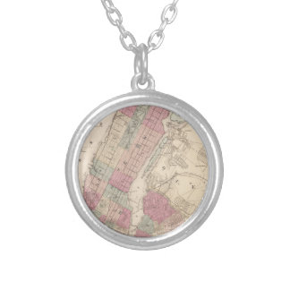 1868 Map of New York and Brooklyn Silver Plated Necklace