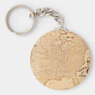 1868 United States Map Key Chains
