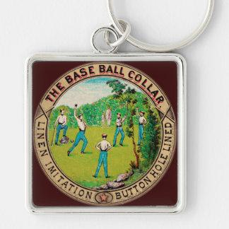 1868 Vintage Baseball Collar Logo Silver-Colored Square Key Ring