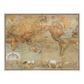 1870 Baur and Bromme World Map Mercator Projection Posters