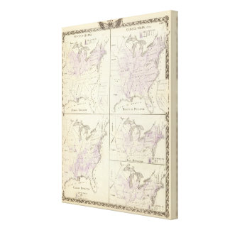 1870 United States census maps Gallery Wrap Canvas