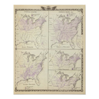 1870 United States census maps Posters