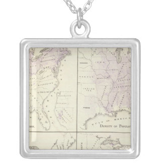 1870 United States census maps Silver Plated Necklace